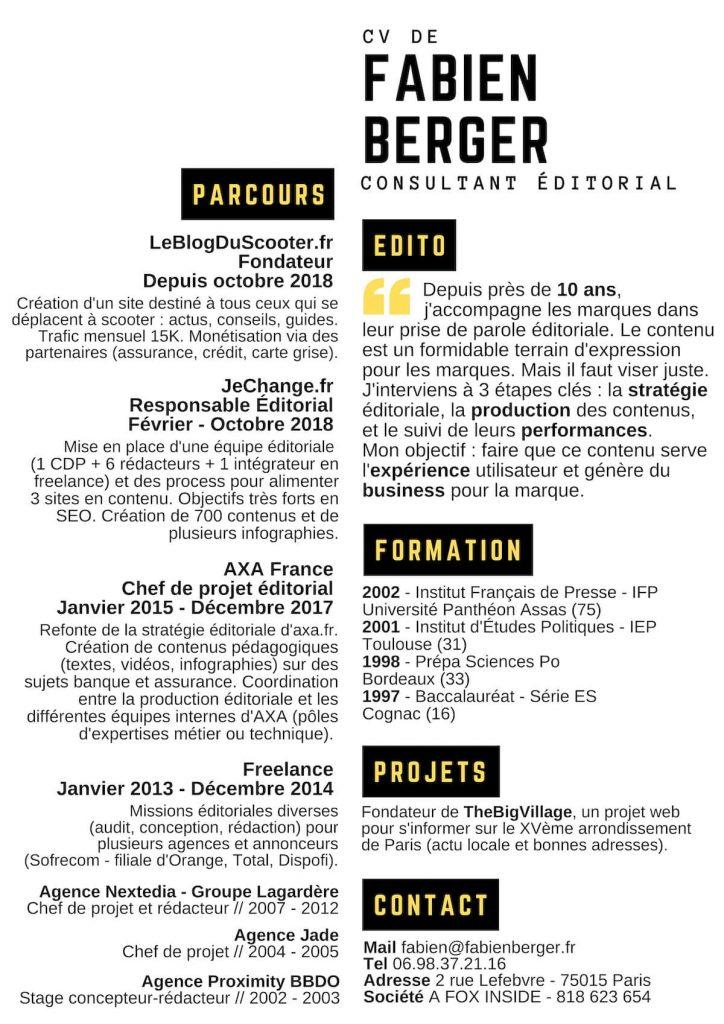 CV de Fabien Berger consultant éditorial